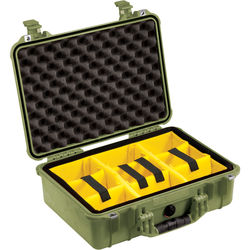 Pelican 1504 Waterproof 1500 Case with Yellow and Black Divider Set (Olive Drab Green)