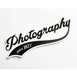 "TogTees Photography Since 1827 Bumper Sticker (Black and White, 8.0 x 2.5"")"