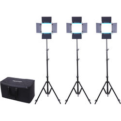 Dracast Silver Series LED500 Daylight 3-Light Kit with NP-F Battery Plate