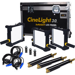 Fluotec CineLight Production 30 Tunable SoftLIGHT LED Panel 3-Light Kit (V-Mount Battery Plate and AC Power)