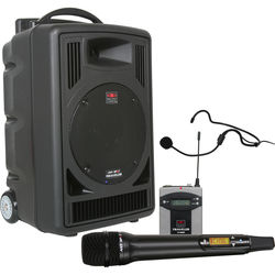 Galaxy Audio TV8 Traveler Series 120W PA System with Dual UHF Receiver, Wireless Handheld Microphone, Bodypack Transmitter, and Headset Microphone