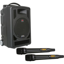Galaxy Audio TV8 Traveler Series 120W PA System with CD Player, Dual UHF Receiver, and Two Wireless Handheld Microphones