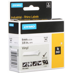 "Dymo Rhino 3/8"" White Vinyl Labels (Black Print)"
