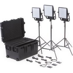 Litepanels Astra 3X Traveler Bi-Color Trio 3-Light Kit with Gold Mount Battery Brackets