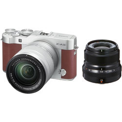 Fujifilm X-A3 Mirrorless Digital Camera with 16-50mm and Black 23mm f/2 Lenses (Brown)