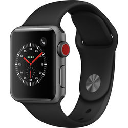 Apple Watch Series 3 38mm Smartwatch (GPS + Cellular, Space Gray Aluminum Case, Black Sport Band)
