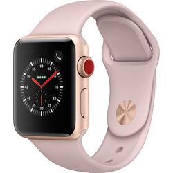 Apple Watch Series 3 38mm Smartwatch (GPS + Cellular, Gold Aluminum Case, Pink Sand Sport Band)