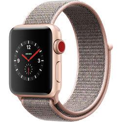 Apple Watch Series 3 38mm Smartwatch (GPS + Cellular, Gold Aluminum Case, Pink Sand Sport Loop)