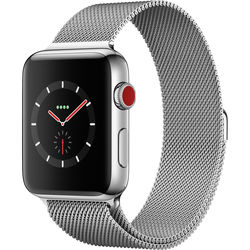 Apple Watch Series 3 42mm Smartwatch (GPS + Cellular, Stainless Steel Case, Stainless Steel Milanese Loop)