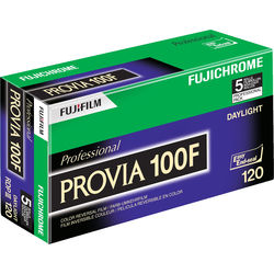 FUJIFILM Fujichrome Provia 100F Professional RDP-III Color Transparency Film (120 Roll Film, 5 Pack)