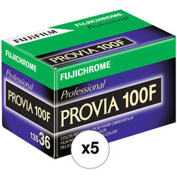 Fujifilm Fujichrome Provia 100F Professional RDP-III Color Transparency Film (35mm Roll Film, 36 Exposures, 5 Pack)