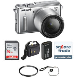 Nikon 1 AW1 Mirrorless Digital Camera Deluxe Accessory Kit with 11-27.5mm Lens (Silver)