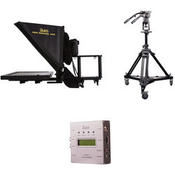 "ikan 15"" Teleprompter and SDI to HDMI Converter with Pneumatic Pedestal System for Cameras Weighing up to 18 Pounds"