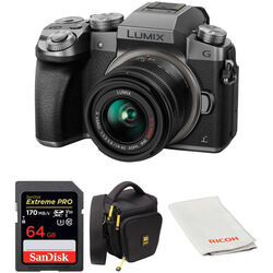 Panasonic Lumix DMC-G7 Mirrorless Micro Four Thirds Digital Camera with 14-42mm Lens and Accessory Kit (Silver)