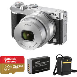 Nikon 1 J5 Mirrorless Digital Camera with 10-30mm Lens and Accessories Kit (Silver)