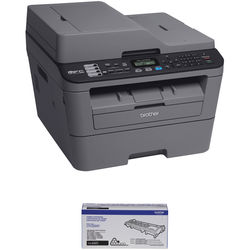 Brother MFC-L2700DW All-in-One Monochrome Laser Printer with High Yield Cartridge Kit