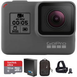 GoPro HERO5 Black & Head Strap Kit with 32GB microSDHC Card and Extra Battery