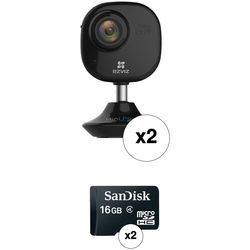 ezviz CV-200 Mini Plus 1080p Wi-Fi Night Vision Camera with 16GB microSD Card (2-Pack)