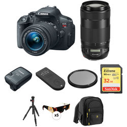 Canon EOS Rebel T5i DSLR Camera with 18-55mm and 70-300mm Lenses Solar Eclipse Kit