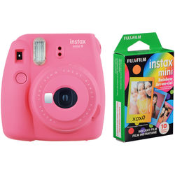 FUJIFILM INSTAX Mini 9 Instant Film Camera with Rainbow Instant Film Kit (Flamingo Pink, 10 Exposures)