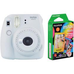 Fujifilm instax mini 9 Instant Film Camera with Rainbow Instant Film Kit (Smokey White, 10 Exposures)