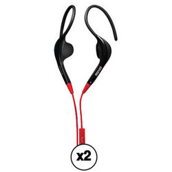 Maxell 192006 Pure Fitness Ear Hooks with Microphone (2-Item Kit, Black and Red)