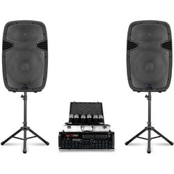 Technical Pro Stage Series Bluetooth StagePack12 V2 PA with Mic Mixer Amplifier, 6 Microphones, 2 Speakers, and More