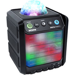 ION Audio Insta Party, Compact Rechargeable Bluetooth Speaker with Dome and Grille Party Lights