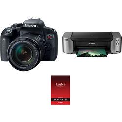 Canon EOS Rebel T7i DSLR Camera with 18-135mm Lens and Inkjet Printer Kit