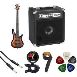 Ibanez SR405EQM SR Standard Series 5-String Electric Bass Starter Kit (Dragon Eye Burst)