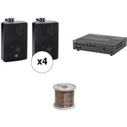 Atlas Sound Basic Single-Zone, 70V Wall Mount Sound System for up to 3,000 sq ft.