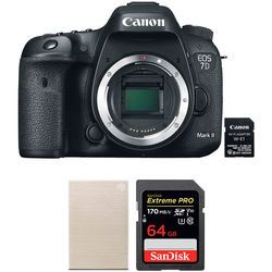 Canon EOS 7D Mark II DSLR Camera with W-E1 Wi-Fi Adapter and Storage Kit
