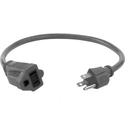 Watson AC Power Extension Cord (16 AWG, Gray, 1.5')