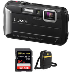 Panasonic Lumix DMC-TS30 Digital Camera with Accessory Kit (Black)