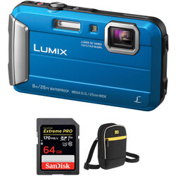 Panasonic Lumix DMC-TS30 Digital Camera with Accessory Kit (Blue)