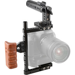 CAMVATE Universal Camera Cage with Top Handle and Wooden Handgrip