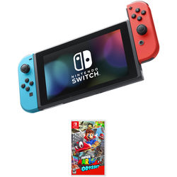 Nintendo Switch with Neon Blue and Red Controllers & Super Mario Odyssey Kit