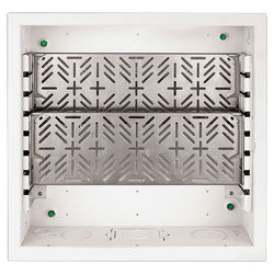 """FSR Large Open-Style Wall Box with 2 Equipment Shelves & Finished Trim Ring (4""""-Deep)"""