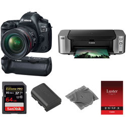 Canon EOS 5D Mark IV DSLR Camera with 24-70mm Lens and Inkjet Printer Kit