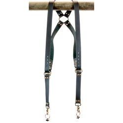 "Funk Plus Cowhide Leather Ring Back Harness with 1.25"" Wide Straps (Black)"