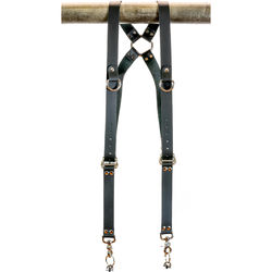 "Funk Plus Cowhide Leather Ring Back Harness with 1.25"" Wide Straps and D-Rings (Black)"