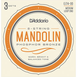 D'Addario EJ74-3D Medium Phosphor Bronze Mandolin Strings (8-String Set, Loop End, 11 - 40, 3-Pack)