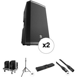 """Electro-Voice ZLX-12P-US 12"""" Two-Way Powered Loudspeaker Kit with Cases, Stands, and Cables"""