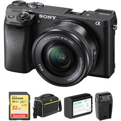 Sony Alpha a6300 Mirrorless Digital Camera with 16-50mm Lens and Free Accessory Kit