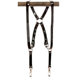 "Funk Plus PVC Vinyl Ring Back Harness with 1.25"" Wide Straps (Black)"
