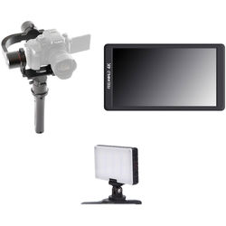 """Pilotfly H2 3-Axis Gimbal Kit with 5.7"""" LCD Monitor & On-Camera Light"""