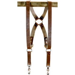 """Funk Plus Water Buffalo Leather Ring Back Harness with 1.5"""" Wide Straps (Dark Brown)"""