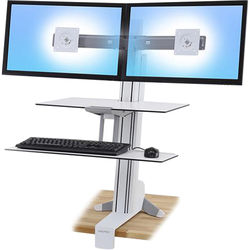 Ergotron WorkFit-S Dual Monitor with Worksurface+ (White)