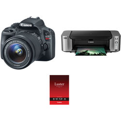 Canon EOS Rebel SL1 DSLR Camera with 18-55mm Lens and Inkjet Printer Kit