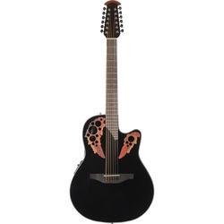 Ovation CE4412-5 Celebrity Elite Series 12-String Acoustic/Electric Guitar (Black)
